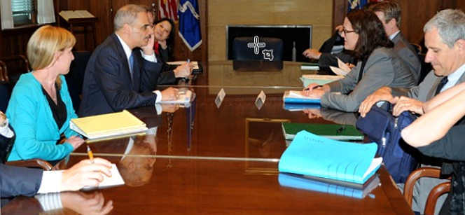At the meeting between EU Home Affairs Commissioner Cecilia Malmström and U.S. Attorney General Eric Holder. Photo: U.S. Department of Justice