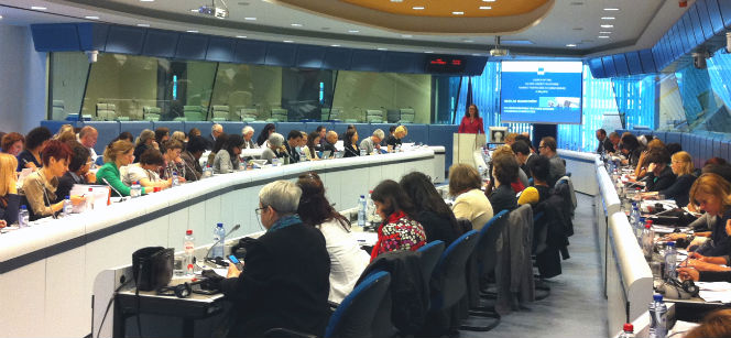 Commissioner Malmström speaking at the launch event in Brussels, where 100 organisations participated. Photo: Tove Ernst