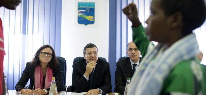 An Eritrean boy who survived the shipwreck off the coast of Lampedusa tell his story to EU Commissioner Cecilia Malmström, European Commission President José Manuel Barroso and Enrico Letta, Italian Prime Minister. Photo: European Commission
