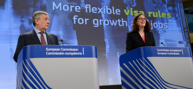 Press conference with Commission Vice President Antonio Tajani and Commissioner Cecilia Malmström in Brussels. Photo: European Commission