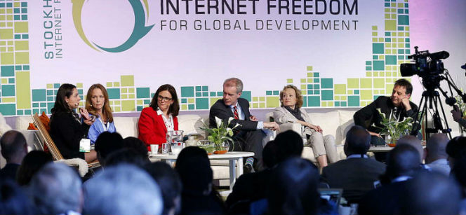 EU Commissioner Cecilia Malmström participating in a panel on freedom and security at the 2013 Stockholm Internet Forum. Photo: Swedish Ministry for Foreign Affairs