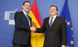 Mariano Rajoy Brey, on the left, and José Manuel Barroso