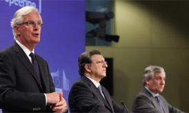 President Barroso, Commissioner for Industry and Entrepreneurship Tajani, Commissioner for Internal Market and Services Barnier