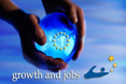 Hands holding a globe symbolising growth and jobs © EU