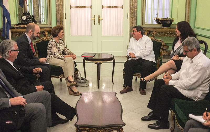 Androulla Vassiliou (3rd l) and Foreign Minister of Cuba Bruno Rodríguez (3rd r)