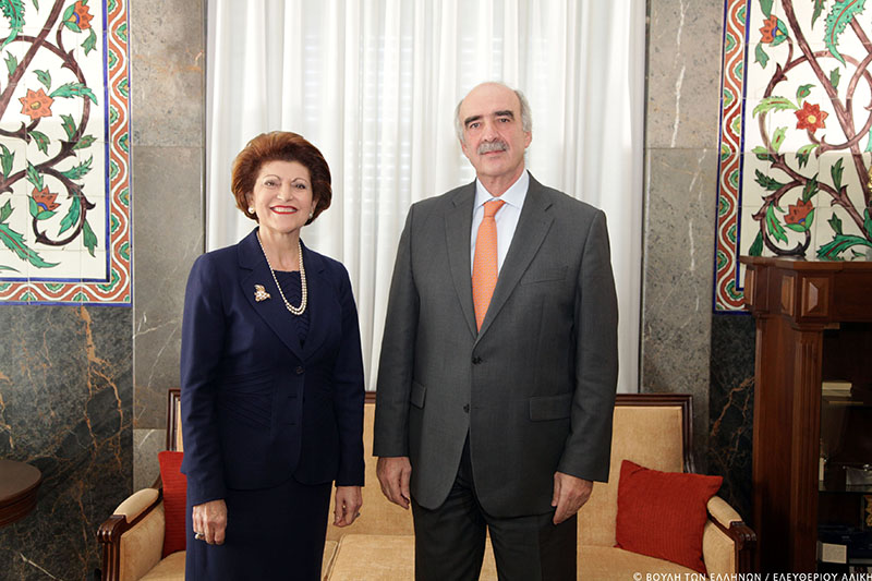 Androulla Vassiliou and Vangelis Meimarakis, President of the Greek Parliament