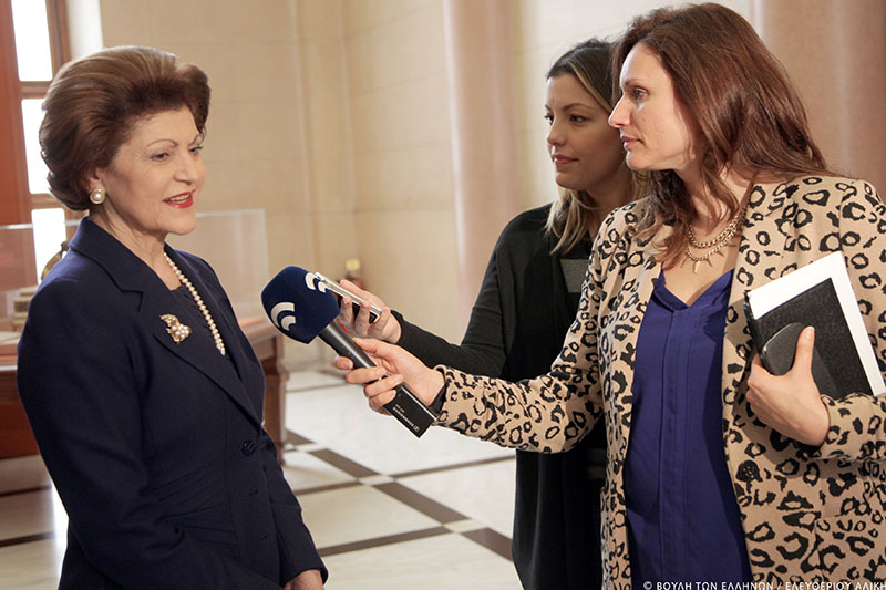 Androulla Vassiliou and the journalist