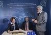 Commissioner Androulla Vassiliou, Swiss Federal Councillor Johann N. Schneider-Ammann, CERN Director-General Rolf Heuer ©CERN