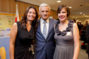 President Buzek next to Vanessa and Claire, both Marie Curie fellows