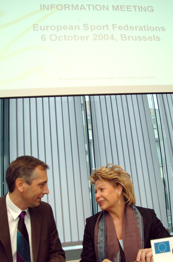 Vivianne Reding and Jan Figel', Members of the EC, at the information meeting of the European Sport Federations