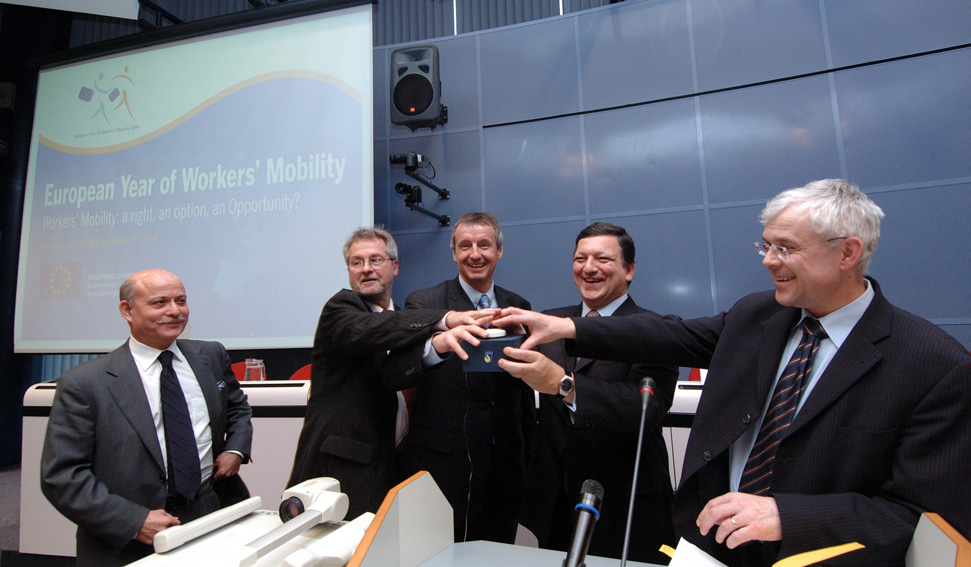 Launch of the European Year of Workers' Mobility 2006 by José Manuel Barroso, Vladimír Špidla and Martin Bartenstein