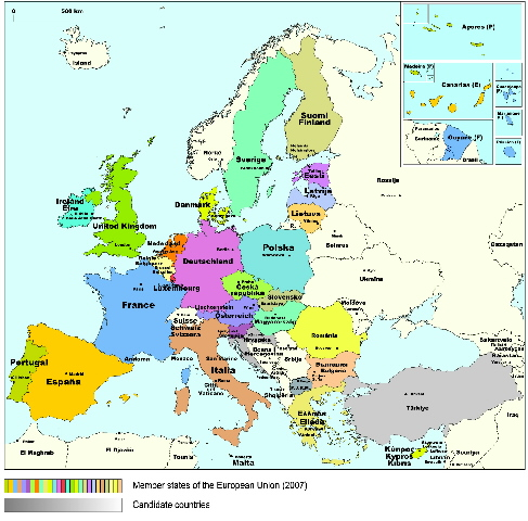 Maps of Europe in 2007