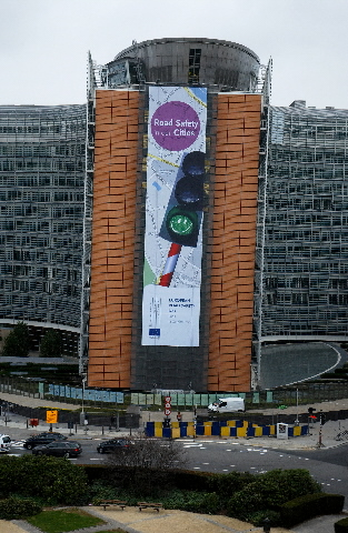 The poster of the European Road Safety Day 2008, on the Berlaymont building