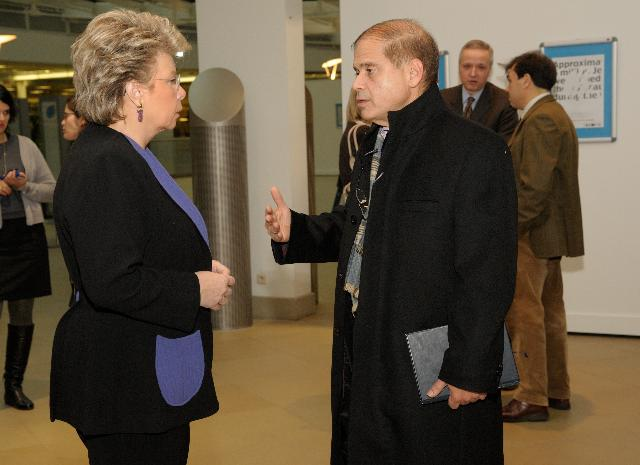 Visit by Viviane Reding, Vice-President of the EC, of the exhibition Holocaust-Keeping Memory Alive