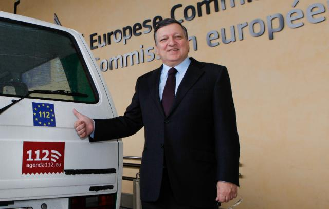 José Manuel Barroso, President of the EC, and Kristalina Georgieva, Member of the EC, promoting the European emergency number, 112