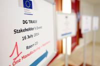 Welcome board indicating the date of the meeting of the stakeholders as part of the sixth round of negotiations for the Transatlantic Trade and Investment Partnership (TTIP)