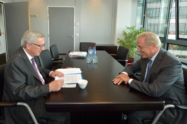 Meeting between Dimitris Avramopoulos, Greek Minister for National Defence, and Jean-Claude Juncker, President-elect of the EC