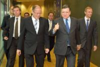 Benigno Aquino III, José Manuel Barroso and Guy Ledoux, Head of the Delegation of the EU to the Philippines (in the foreground, from left to right)