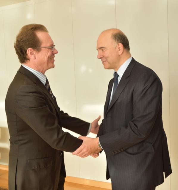 Algirdas Šemeta reçoit Pierre Moscovici, membre désigné de la CE chargé des Affaires économiques et financières, de la Fiscalité et de l'Union douanière