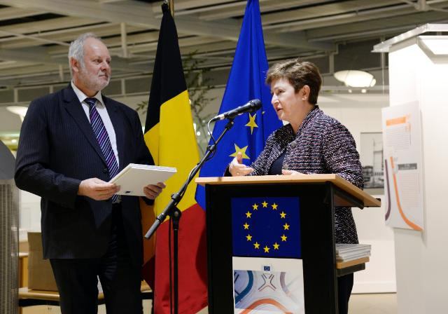 Participation of Kristalina Georgieva, Vice-President of the EC, in the opening of the photo exhibition for the Berlaymont Renovation 10 Years Anniversary