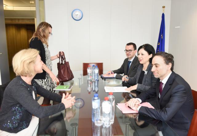 Visite d'Isabelle Falque-Pierrotin, présidente de la CNIL et présidente du G29, à la CE