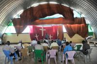 South Sudanese internally displaced people participating in a catholic classes in a camp of the civil protection