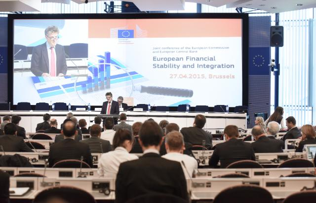 """Illustration of """"Participation of Jonathan Hill, Member of the EC, at the joint 2015 EC-ECB conference on European..."""