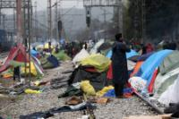 Idomeni refugee camp at the border between Greece and the former Yugoslav Republic of Macedonia