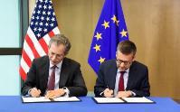 Carlos Moedas, membre de la CE, à la cérémonie de signature d'un accord pour faciliter la coopération dans le domaine de la recherche entre l'UE et les États-Unis dans le cadre du programme Horizon 2020