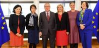 Group photo with Jean-Claude Juncker, President of the EC and the female Commissioners on the occasion of the international day of women and 8th of March celebrations