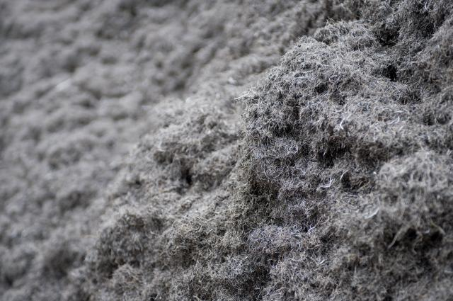 A factory recycling whole waste tyres into crumb rubber