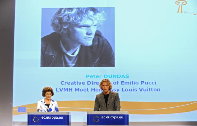 Joint press conference by Androulla Vassiliou, Member of the EC, and Peter Dundas, Norwegian fashion designer, art director of Emilio Pucci fashion house, on the EC Green Paper entitled Unlocking the potential of cultural and creative industries