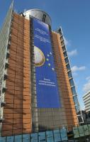 Banner at the EC Berlaymont's frontage with the inscription