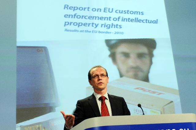 Press conference by Algirdas Šemeta, Member of the EC, following the publication of the EC annual report on the customs actions aiming to boost protection of IPR