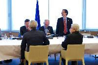 General view of the meeting: Demetris Christofias, President of Cyprus and President in office of the Council of the EU, Uwe Corsepius, Secretary General of the Council of the EU, standing, Herman van Rompuy, Andreas D. Mavroyiannis, Deputy Minister to Demetris Christofias, President of Cyprus, in charge of European Affairs, from behind, and José Manuel Barroso (from right to left)