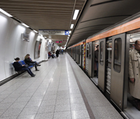 Public transport users a in an Athens metro station