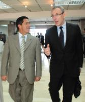 Pablo Jurado Imabura`s Prefect, left, welcomes European Commissioner Andris Piebalgs in Ibarra