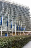 "Illustration of ""European flags fly at half-mast in front of the Berlaymont, in tribute to victims of the attack in Denmark"""
