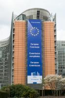 Banner of the European Commission on the Berlaymont building