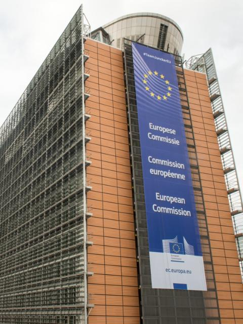 Banner of the European Commission, on the Berlaymont building