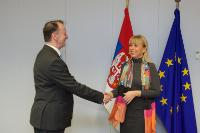 Signature of the Agreement formalising the entry of Serbia in the COSME programme by Elżbieta Bieńkowska, Member of the EC, and Duško Lopandić, Head of the Mission of Serbia to the EU