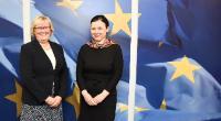 Visite d'Elisabeth Aspaker, ministre norvégienne de l'Espace économique européen (EEE) et des Affaires européennes, à la CE