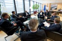 Jean-Claude Juncker, President of the EC, receives Martin Schulz, President of the European Parliament, Donald Tusk, President of the European Council and Mark Rutte, Dutch Prime Minister, holder of the rotating Presidency of the Council of the EU