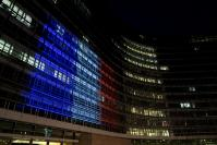 Berlaymont building lit with the French flag colours to pay tribute to the victims of the attack in Nizza on 14/7/2016