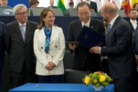 Signing ceremony, following its ratification by the EU, of the Paris Agreement on climate change reached during the COP21 in 2015