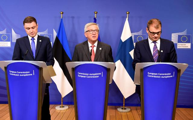 Signing ceremony of an agreement for an investment in the Balticconnector, the first gas pipeline connecting Finland and Estonia