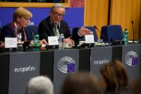 Participation of Jean-Claude Juncker, President of the EC, in a meeting of the Confederal Group GUE-NGL of the EP