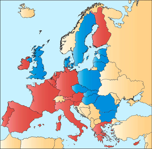 map of europe countries. Map with time zones in Europe