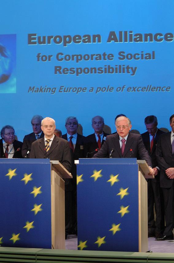 Conférence de presse de Günter Verheugen et de Vladimír Špidla, vice-président et membre de la CE, sur l'alliance européenne pour la responsabilité sociale des entreprises