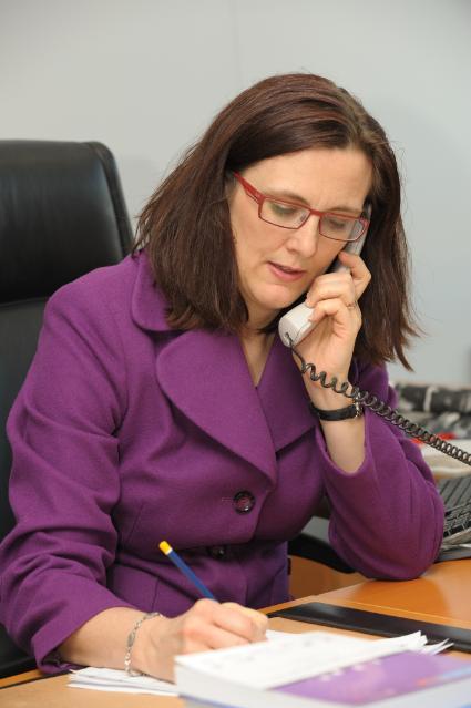 Portraits de Cecilia Malmström, membre de la CE